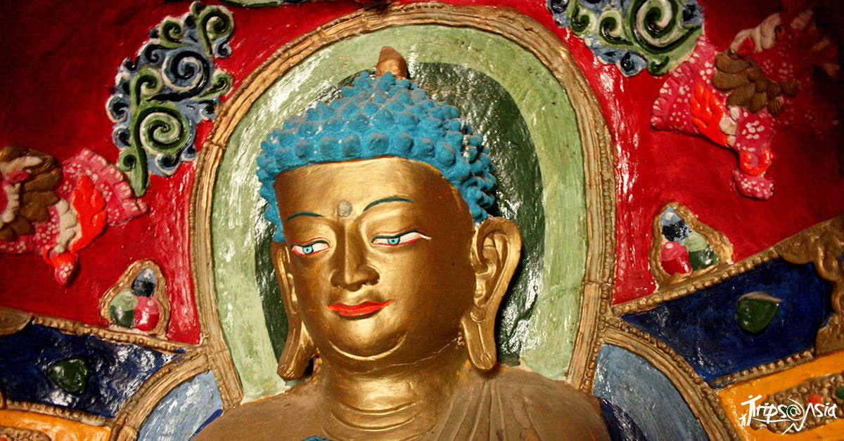 A gilded statue of Buddha
