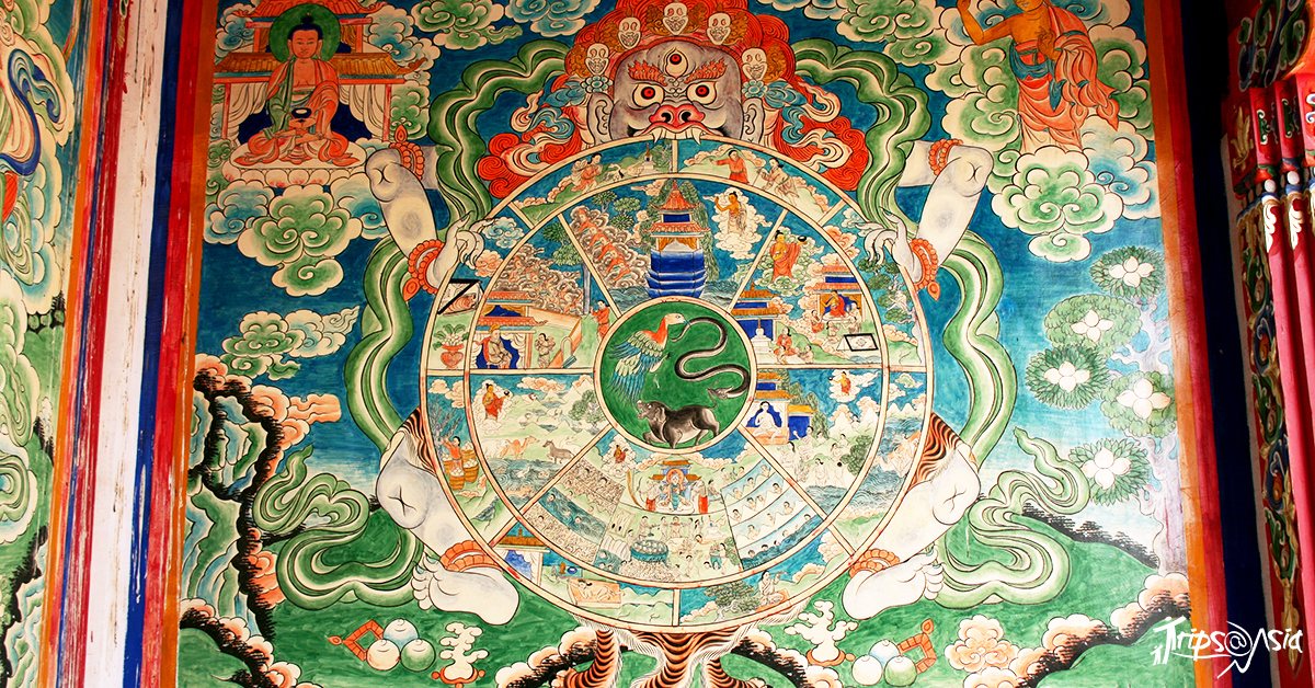 The wheel of Life, depicting 6 realms our souls can be born into