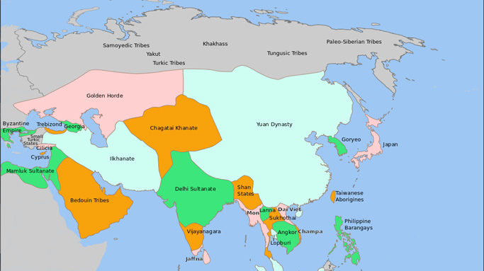 Mongol Empire map in 1335