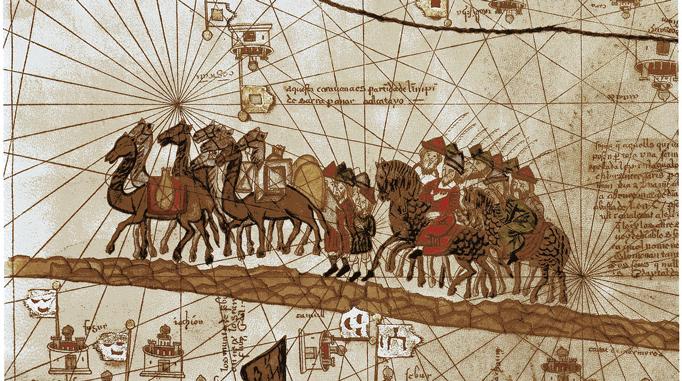 Camel caravan traveling along the Silk Road