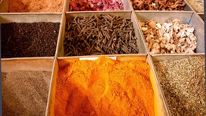 Traditional herbs & spices sold at a market in Xinjuang, China